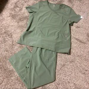 Cherokee Infinity Olive Green Nursing Scrub Set
